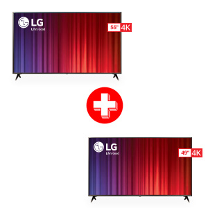 LG 55 Inch and 49 Inch 4K UHD LED Smart TV Bundle