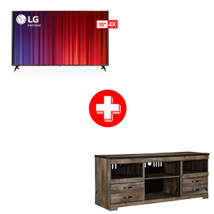 LG 55 inch Smart TV and Ashley Trinell 63 Inch TV Stand Bundle
