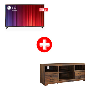 LG 55 inch Smart TV and Ashley Quinden 63 Inch TV Stand Bundle