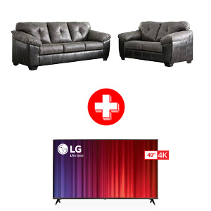 Signature Design by Ashley Gregale-Slate Living Room Set and LG 49 inch TV Bundle