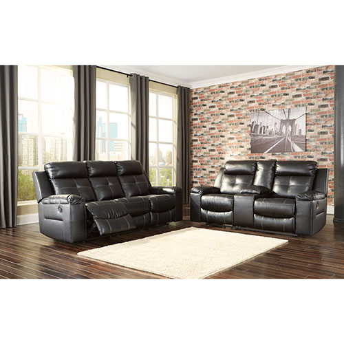 Ashley Kempten-Black Reclining Sofa and Loveseat for Rent ...