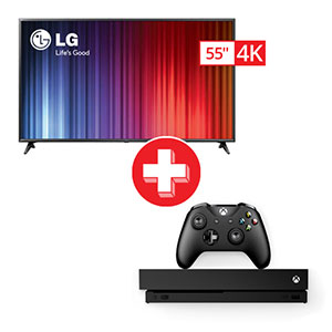 LG 55 inch Smart TV and Microsoft Xbox One X Gaming Bundle