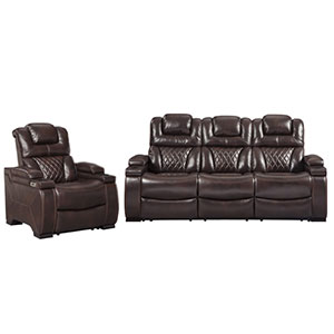 Signature Design by Ashley Warnerton-Chocolate Power Reclining Sofa and Recliner