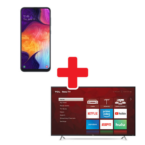 Samsung Galaxy A50 and TCL 55 Inch ROKU TV Bundle  Same-Day