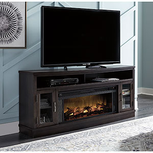 Signature Design by Ashley Dayhurst 71 Inch Electric Fireplace TV Stand- Room View