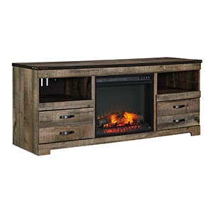 Signature Design by Ashley Trinell 63 Inch Electric Fireplace TV Stand