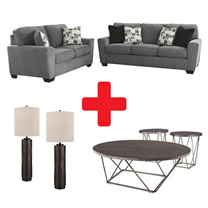 Signature Design by Ashley Waylark-Pewter 7-Piece Living Room Set Bundle