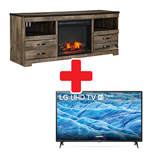 Signature Design by Ashley Trinell Electric Fireplace TV Stand + LG 65 Inch TV Bundle