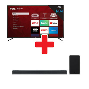 TCL ROKU 65 Inch Smart TV + LG Sound Bar