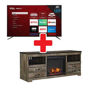 Signature Design by Ashley Trinell 63 Inch Electric Fireplace TV Stand + TCL 65 Inch ROKU Smart TV