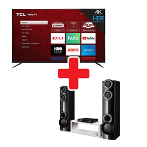 TCL ROKU 65 Inch Smart TV + LG Home Theater System