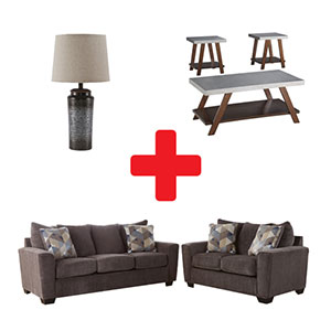 Signature Design by Ashley Evanside-Smoke 7-Piece Living Room Set Bundle