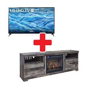 Signature Design by Ashley Derekson 71 Inch Fireplace TV Stand and LG 70 Inch Smart TV