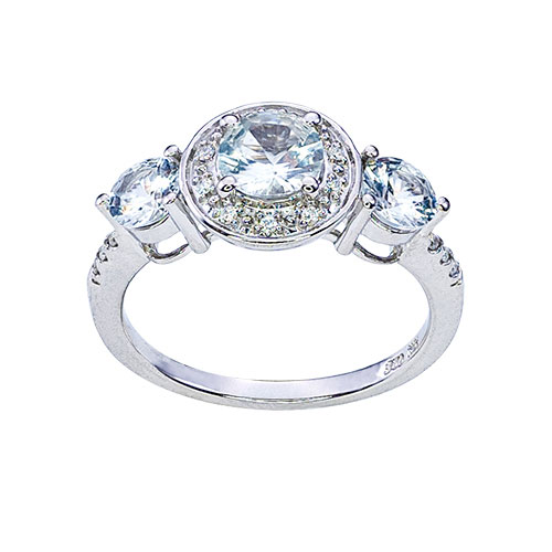 Womens 10K White Gold .75 CT.T.W. White Sapphire and Diamond Fashion Ring